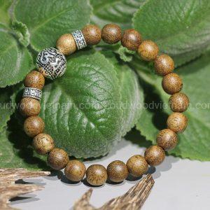 Natural Agarwood Mala Bead Bracelet For Baby - Anti Ghost - Mix Charm Silver 925 - OM MANI PADME HUM - oudwoodvietnam.com